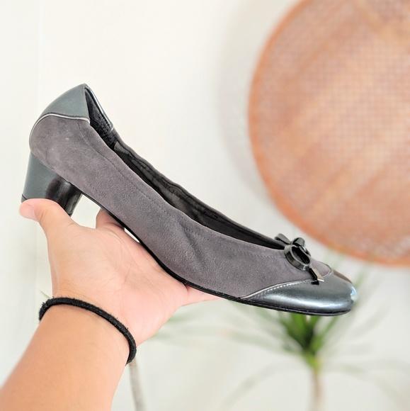 Stuart Weitzman Shoes - Stuart Weitzman Gray Suede Slip ons with heel